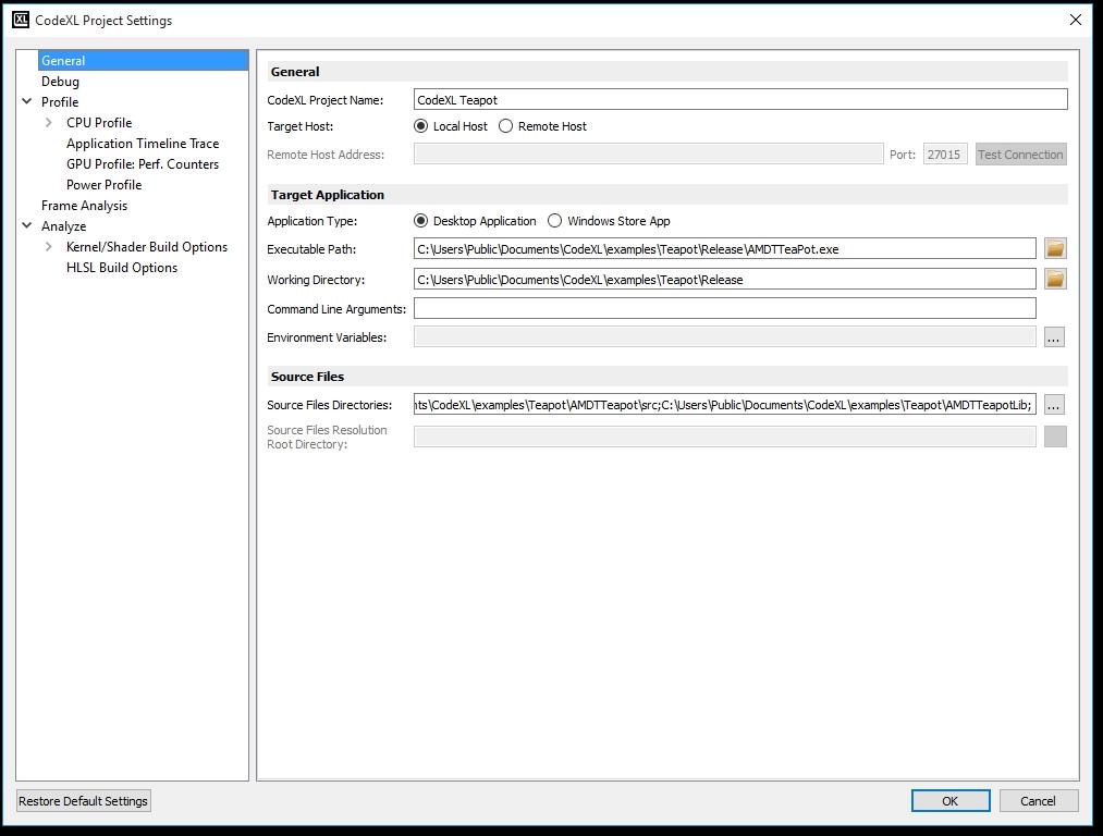 Project Settings - CodeXL Documentation