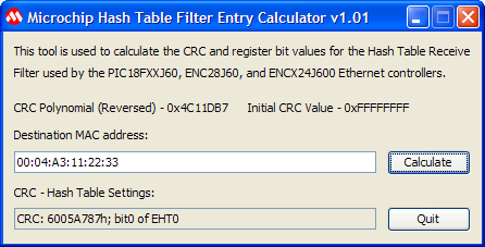 Hash Table Filter Entry Calculator - Microchip TCP/IP Stack