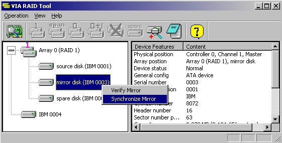 Synchronize Mirror Disk - VIA RAID Documentation